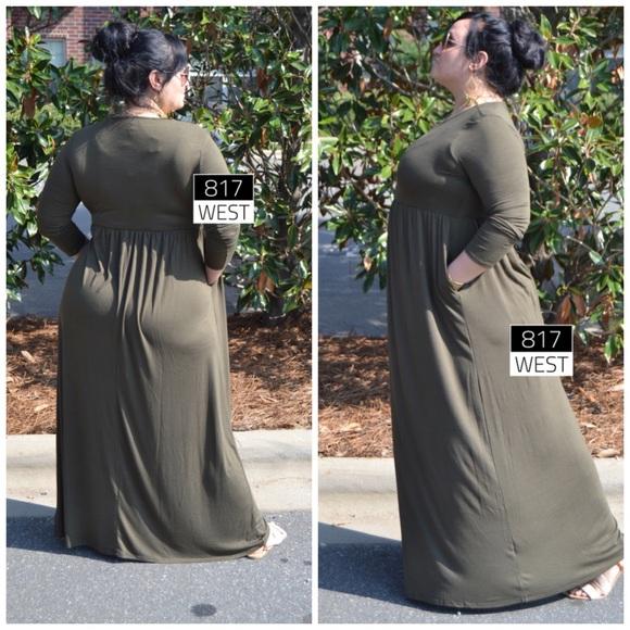 Dresses Plus Size Olive Green Maxi Dress Pockets Long Poshmark